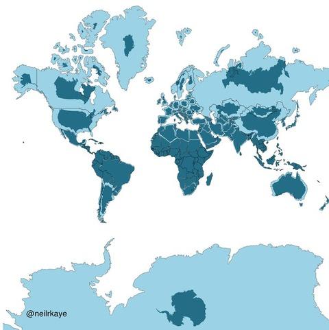 【驚愕】世界地図はウソだらけ!?実際の陸地サイズと地図上の大きさを比較した画像が話題に